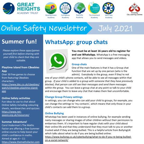 e-Safety Updates, July 21